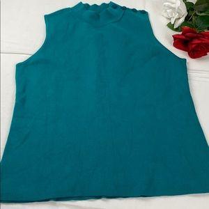 Ann Taylor Teal Sleeveless Sweater L Button Design